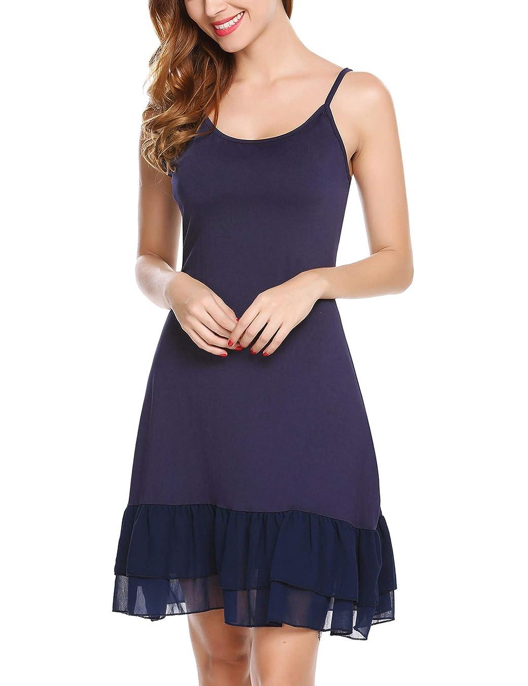 Zeagoo Women's Adjustable Spaghetti Strap Chiffon Ruffle Camisole Dress Extender