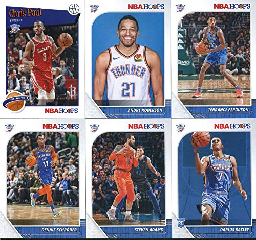 2019-20 Panini NBA Hoops Oklahoma City Thunder Team Set of 11 Cards: Chris Paul(#67), Shai Gilgeous-Alexander(#80), Danilo Gallinari(#81), Nerlens Noel(#108), Steven Adams(#130), Hamidou Diallo(#131), Dennis Schroder(#133), Andre Roberson(#134), Terrance Ferguson(#135), Darius Bazley(#249), Chris Paul(#288)