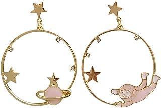 Round Star Clip Earrings No Pierced Hole Cartoon Starry Sky Dream Spaceman Astronaut Rocket Clip on Earrings Without Piercing