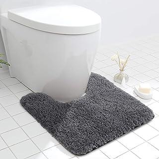 Seavish Luxury Grey Contour Bath Rug, 19.5 X 19.5 Inches Shaggy Bathroom Rugs,Non Slip Efficient Water Absorbent Machine W...