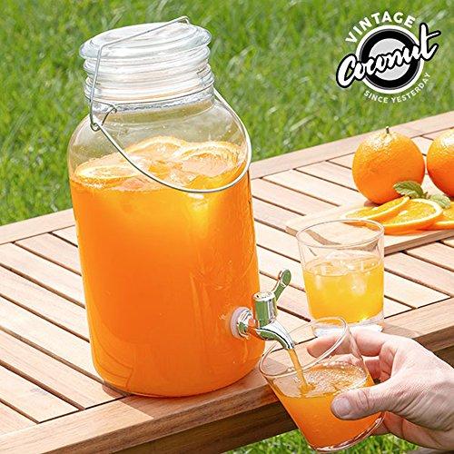 Exklusives Zapfanlage von Erfrischungsgetränken auf Stecker in Glas-4L Liter Spender mit Design Krug Vintage Stil Topf von Marmelade Typ Mason Jars mit Wasserhahn Auslauf Haus für Bier oder Getränke