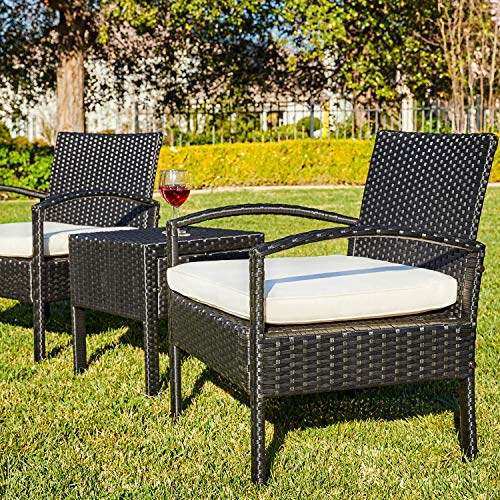 M&W 3 Pieces Patio Sofa Set, PE Wicker Rattan Outdoor Sectional Furniture, 2 Cushioned Chairs and 1 Coffee Table for Lawn Garden Backyard Pool