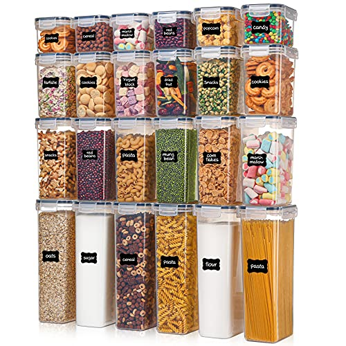 Airtight Food Storage Containers with Lids, Vtopmart 24 pcs Plastic Kitchen and Pantry Organization Canisters for Cereal, Dry Food, Flour and Sugar, BPA Free, Includes 24 Labels