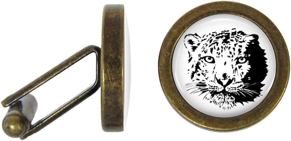 Snow Leopard Cufflinks Big Cat Cuff Links (Angled Edition)