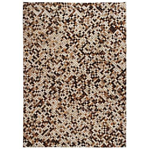 vidaXL Teppich Leder Kuhleder Patchwork 160x230cm Karo Braun Weiß Fellteppich