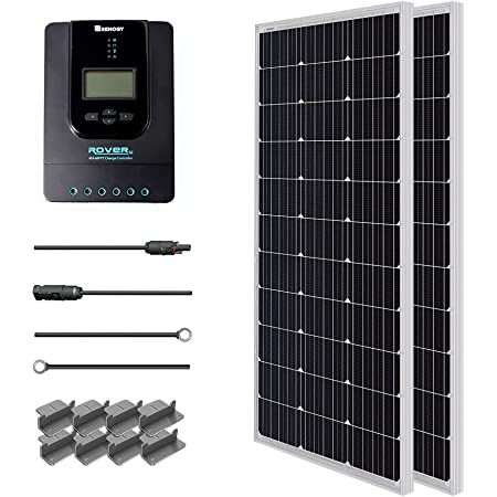 Renogy 200 Watt 12 Volt Monocrystalline Starter w/ 40A Rover MPPT Charge Controller Connectors +Tray Cable+ Mounting Z Brackets for RV, Boat, Solar Panel Kit, 200W, black