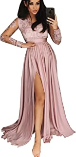 Women's Long Sleeves V Neck Lace Evening Prom Dresses with Split Formal Celebrity Party Gown 71PM