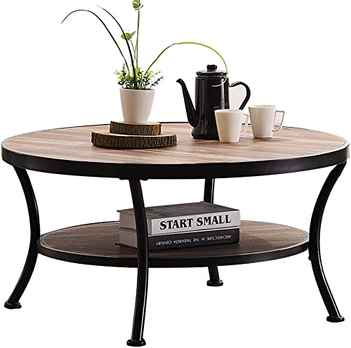 popular O&K Furniture Rustic Round Coffee Table for Living Room, Industrial Cocktail Table high quality with online Open Shelving, Vintage Brown Finish,1-Pcs outlet online sale