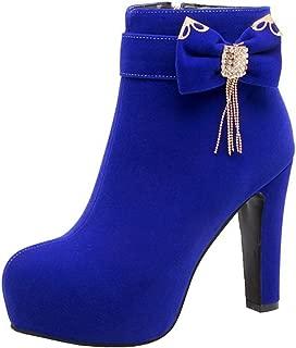 Women's Elegant Bow Belt Rhinestone Chunky High Heel Ankle Booties Round Toe Platform Side Zipper Side Short Boots