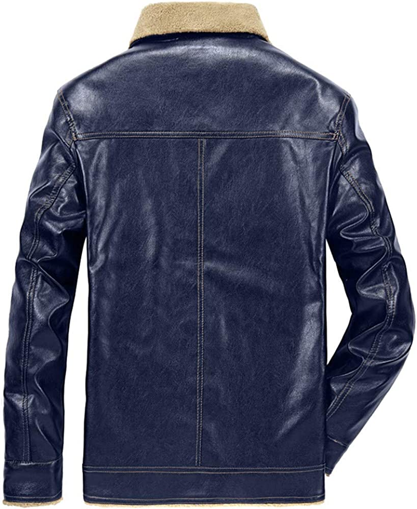 WUYIMC Mens Thermal Leather Jacket Top Winter Cotton Lined Jackets Button Coats Outwear