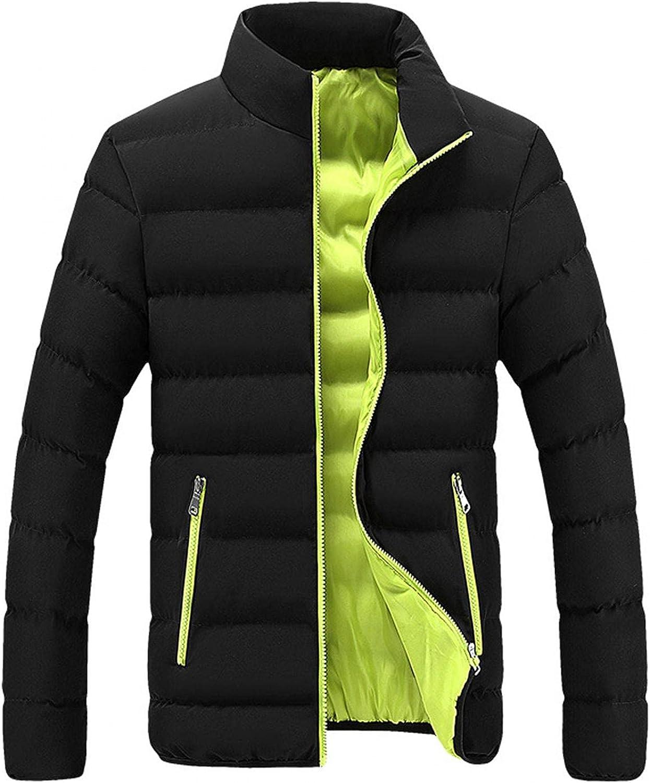 Mens Puffer Jacket Coat Long Sleeve Stand Collar Full Zip Outwear Lightweight Packable Tops Slim Soft Thicken Bubble
