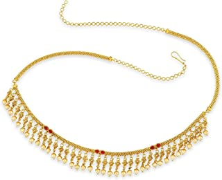 ACCESSHER Gold Copper and Pearl Tassel Kamarband for Girls and Women
