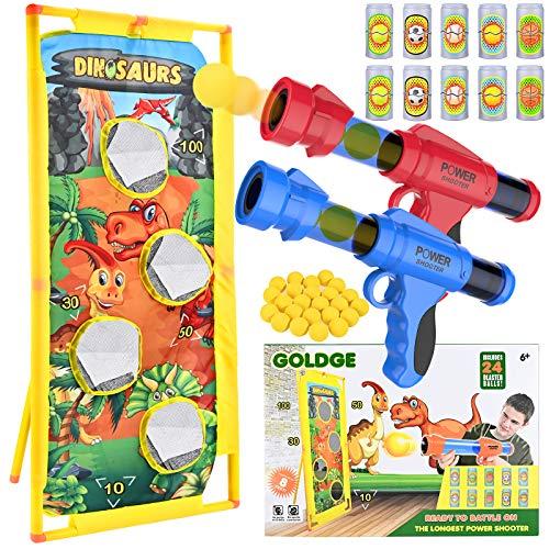 GOLDGE 2PCS Schaumball Pistole Spielzeugpistole mit Standing Shooting Vierloch Schießgestell Schaumstoffball für Drinnen Draußen Druckluftspielzeug