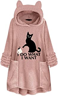 Lutos Women Fleece Long Sleeve Pullover Sweatshirts Cat Ear Plus Size Hoodie Casual Sweater Pocket Jumper