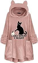 Cat Ear Fleece Hoodies Women Pullover Pocket Pouch Aesthetic Cute Hooded Sweatshirts Plus Size Oversized Sweaters