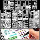 Bullet Journal Plantillas Letras,Letra Y Plantilla De PatróN Para Cuaderno, Diario, Pintura De áLbum De Recortes, Accesorios Para Manualidades Diario Molde De Dibujo Para NiñOs / Adultos 20 Sets