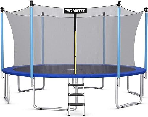 popular Giantex Trampoline, 12Ft sale 14Ft 15Ft 16Ft Outdoor Trampoline w/Safety Enclosure Net, Ladder, Jumping Mat, outlet sale Rust-Resistant Poles, Outdoor Backyard Trampoline for Kid, Adult sale