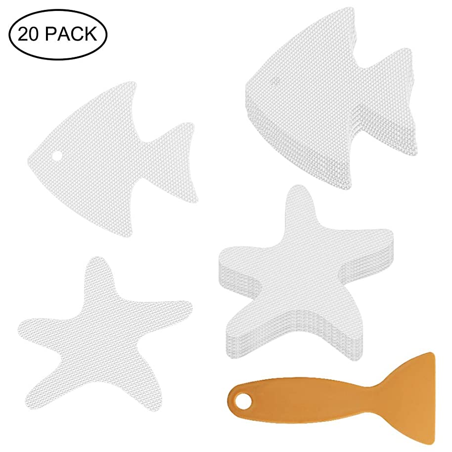 accmor 20PCS Non-Slip Bathtub Stickers, Non-Slip Bath Treads,Safety Shower Treads, with Scraper for Bath Tub,Pools, Stairs or Other Slippery Spots (Clear, Starfish& Fish)