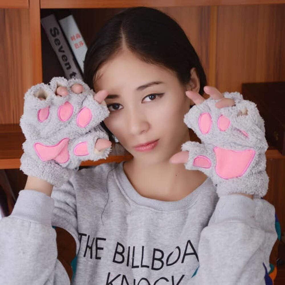 FASGION 2019 Winter Lovely Women Bear Cat Claw Paw Mitten Plush Gloves Short Finger Half Gloves Ladies Half Cover Female Gloves (Color : Black, Gloves Size : One Size)