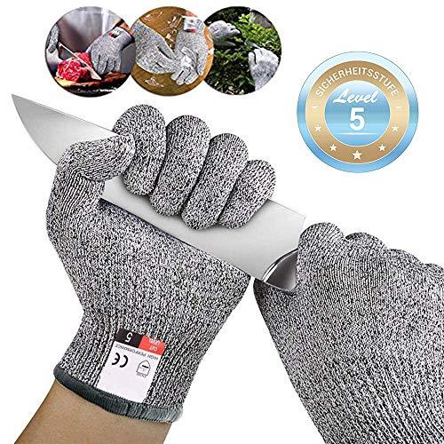 Schnittschutzhandschuhe Arbeitshandschuhe lebensmittelecht schnittfeste Anti-Rutsch Grip-Hochleistung Level 5 Handschutz Schnittschutz,Messer zu schärfen,Holz zu schnitzen (L)