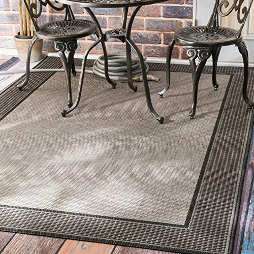 "nuLOOM Gris Border Indoor/Outdoor Area Rug, 7' 6"" x 10' 9"", Grey"