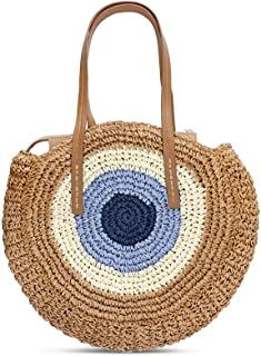Large Straw Beach Bag with Inner Pouch Wave Crossbody Bags for Women Summer Tote Handbags