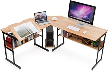 Tangkula 67 inches L-Shaped Desk, Corner Computer Desk with Bottom Bookshelves & CPU Stand, Drafting Drawing Table with Tiltable Desktop, Corner Desk Computer Workstation Home Office Desk (Natural)