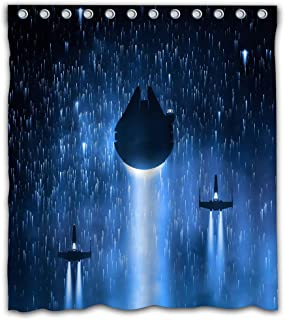 Weckim Custom Space Ship Waterproof Fabric Shower Curtain Cool Design for Bathroom Decoration Size 66x72 Inches