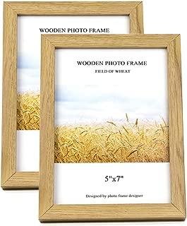Home Me 額縁 木製 フォトフレーム 2L ガラス 写真フレーム デスクトップまたは壁に置く ナチュラルカラー 2枚セット