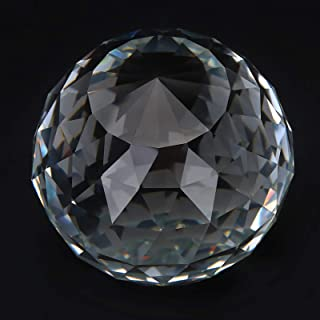 Clear Cut Crystal Sphere 60/80mm Faceted Gazing Ball Prisms Suncatcher Decor coi(80MM/3.15in)