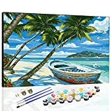 DIY Oil Paint by Number Kits Canvas for Painting Lovers, Kids & Adults Beginner, Gift Choice, with Painting Brushes and Acrylic Pigment, 16x20 Inch Without Frame (Seaside View)