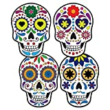 FaCraft Day of Dead Sugar Skulls Decorations,20pcs Dia de Los Muertos Skulls Hanging Wall Sign for Halloween DIY Craft,Party Supplies