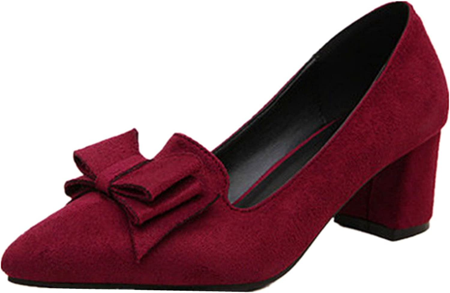 ANBEI Womens Bowknot Dress Pumps Suede Block Work shoes Slip On Mid-Heels