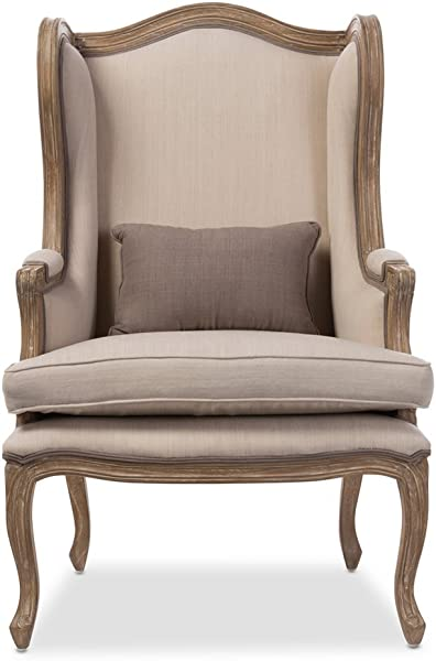 Baxton Studio Oreille French Provincial Style White Wash Distressed Two Tone Upholstered Armchair Beige