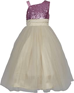 SOFYANA Wish Little Baby Girl's One Side Shoulder Pink Sequin & Gold Net Dress (Kids_Wlt_017)