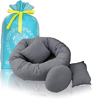 M&G House 4 PC Newborn Photo Props, Baby Photography Basket Filler Wheat Donut Posing Props Baby Pillow (Grey)