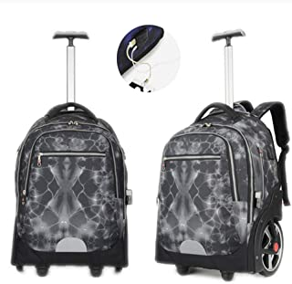 Trolley Laptop Backpack, Travel Backpack Contains Multi-Function Pockets,Stylish Anti-Theft School Bag with USB Charging Port Fits Men Women