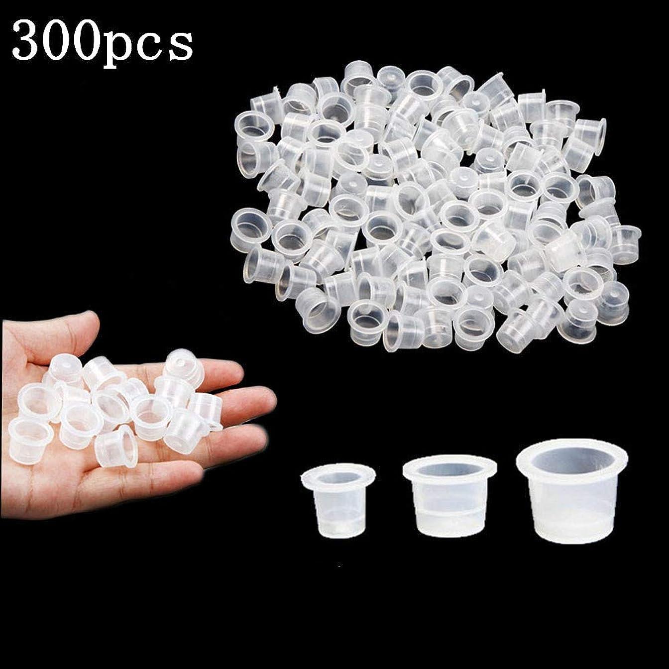 書き込みテセウス床Kingsie インクキャップ 300個セット タトゥーインクカップ 使い捨て ホワイト 半透明 S/M/L