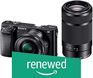 (Renewed) Sony Alpha A6000Y 24.3MP Digital SLR Camera (Black) + 16-50mm Lens + 55-210mm Lens, 16GB Memory Card + Micro HDMI Cable Inside and Camera Bag
