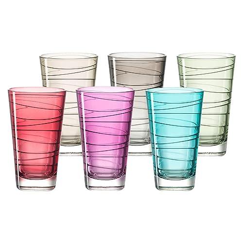 Leonardo 047285Vario gobelets Lot de 6Grandes Couleurs Assorties Verre Multicolore 7.5x 7.5x 12.6cm 6unités