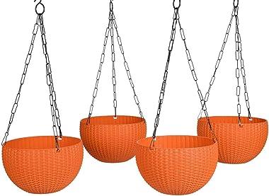 Bengvo Multicolour-01 Round Rattan Woven Plastic Flower Hanging Planter/Beautiful Round Gamla Pot/Flower Hanging Pot for Gard