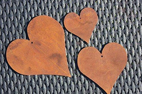 BADEKO Herzen-Set 3-teilig, aus Metall Edelrost,9-17 cm groß