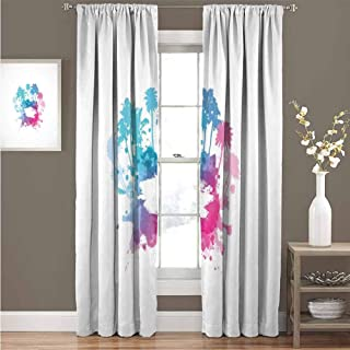 Beach Shading Insulated Curtain Palm Trees with Color Splashes Abstract Grunge Illustration Tropical Vacation Soundproof Shade Curtain 52