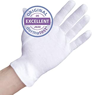 Well B4 Care katoenen handschoenen, gemaakt van 100% katoen ter bescherming van handen met een droge huid, neurodermitis en eczeem, maat M (8/8,5) 3 paar, wit