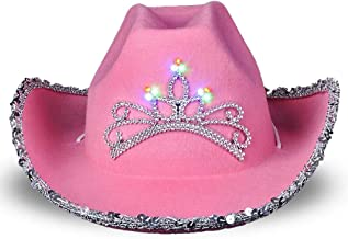 ArtCreativity Light-Up Pink Cowboy Hat for Girls - Sparkly Cowgirl Hat with Sequins and a Dazzling LED Tiara - Cute Cowgir...
