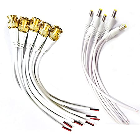 Zeffcon® - Combo Pack of 10 Pc BNC Connector with Copper Wire Moulded - 18CM and 10 Pc DC Power Pigtail Male Cables with 2.1mm Connectors Barrel Jack for Surveillance CCTV Camera (White)