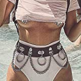 Victray Punk Waist Chain Belt Leather Body Chains Rave Body Jewelry Accessories for Women and Girls (Black)