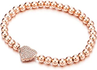 Rose Gold Beads Link Charm Bracelet for Women with Cubic Zirconia Heart Charm, Polished