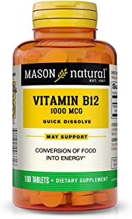 Mason Natural, Vitamin B-12, 1000 Mcg Sublingual Cyanocobalamin Tablets, 100-Count Bottles (Pack of 3), Dietary Supplement Supports Energy, Growth, Red Blood Cell Formation, Nerve Cells Health