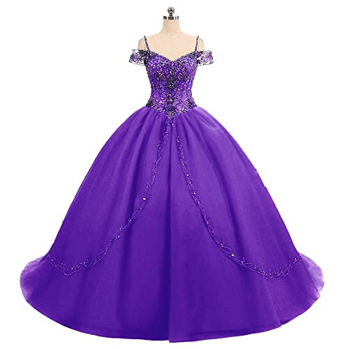 ee3c40a9ddc DKBridal Women s Cap Sleeves Crystals Ball Gowns Tulle Long Quinceanera  Dresses